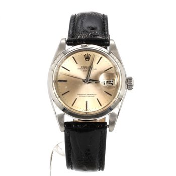 Stainless Steel Date Oyster Perpetual Unisex Smooth Bezel - Mid Sized