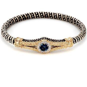 SS& 14KY 1.15CT Blue Topaz & Diamond Bangle Bracelet