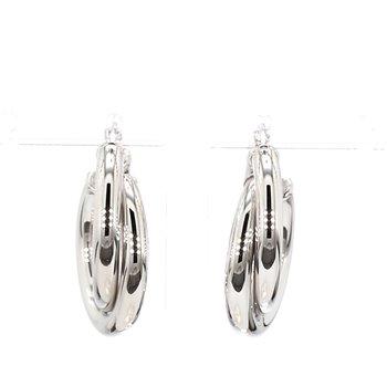Sterling Silver Double Tube Hoop Earrings