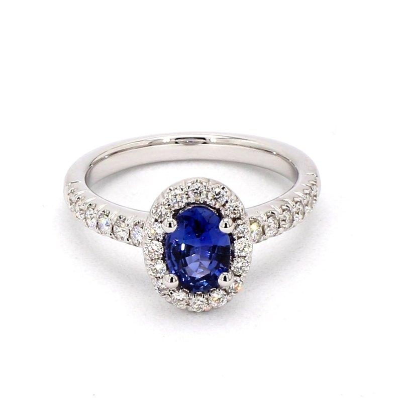 1 Carat Oval Sapphire & Diamond Halo Ring