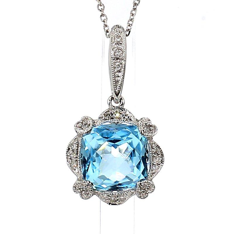"14KW Blue Topaz & Diamond Heart Pendant 16"""
