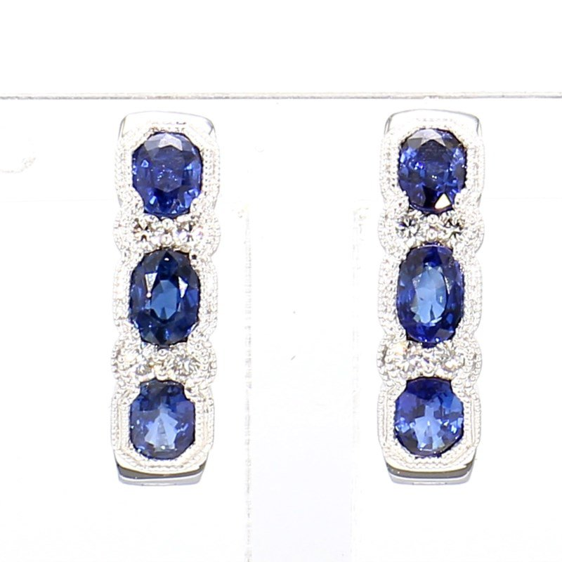 1.55ct Sapphire And Diamond Hoop Earrings