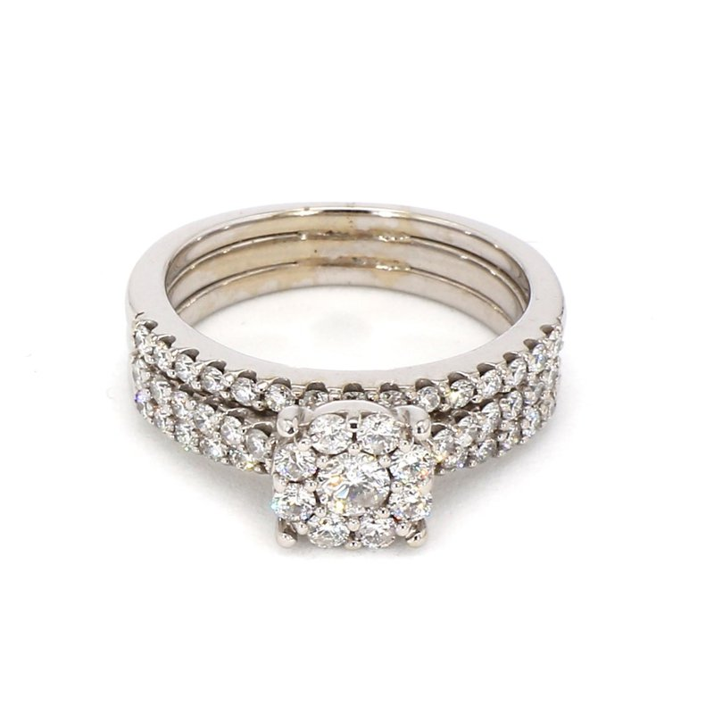 1 1/5ct Diamond Halo Wedding Ring Set