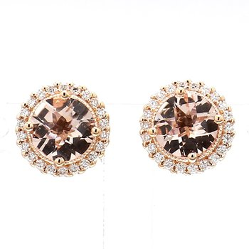 1 1/2ct Morganite & Diamond Earrings