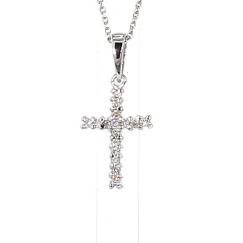 .07ct Diamond 14 Karat White Gold Cross Pendant 16.83mm X 7.75mm