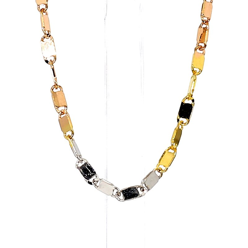 """14KT Yellow, White & Rose Gold Necklace 18"""""""