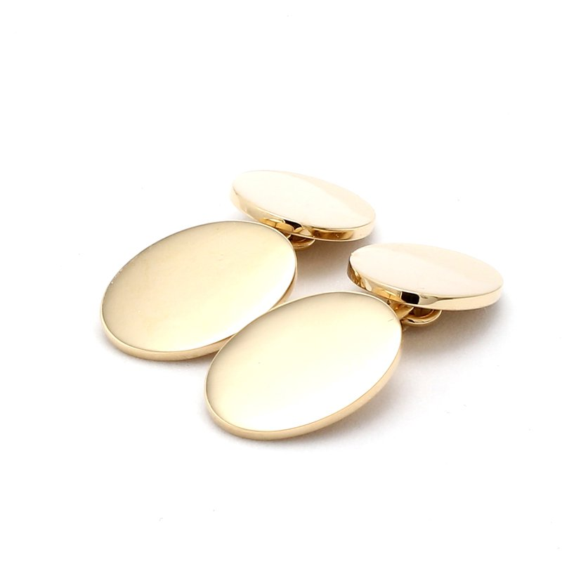 14 Karat Yellow Gold Hvy Wght Engravable Cufflink Set