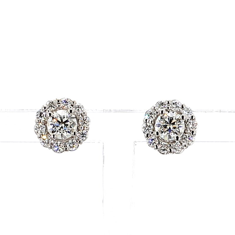 1.0ct Diamond Halo Stud Earrings