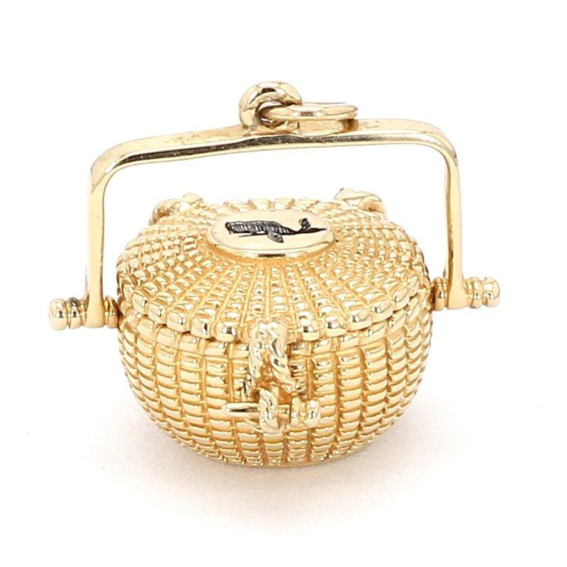 14 Katat Yellow Gold Estate Nantucket Bucket Opening Pendant
