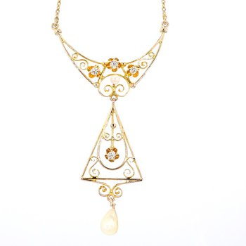 .05 Diamond And Boho Pearl 14 Karat Yellow Gold Hand Carved Estate Choker