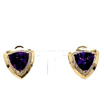 10 1/5ct Trilliant Amethyst & Diamond Halo Earrings