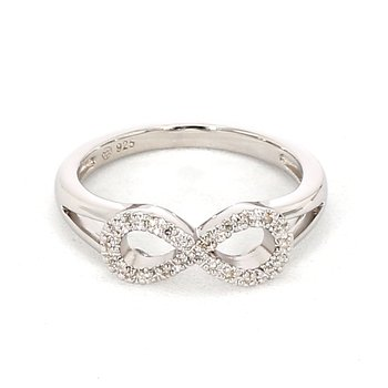 1/10ct Sterling Silver Diamond Infinity Ring