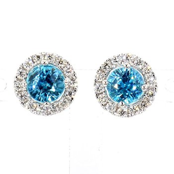 2 1/3ct Blue Zircon & Diamond Earrings