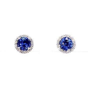 1 1/3ct Sapphire & Diamond Halo Stud Earrings