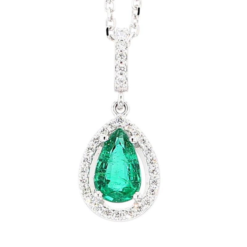 Pair Shape Emerald With Diamond Halo