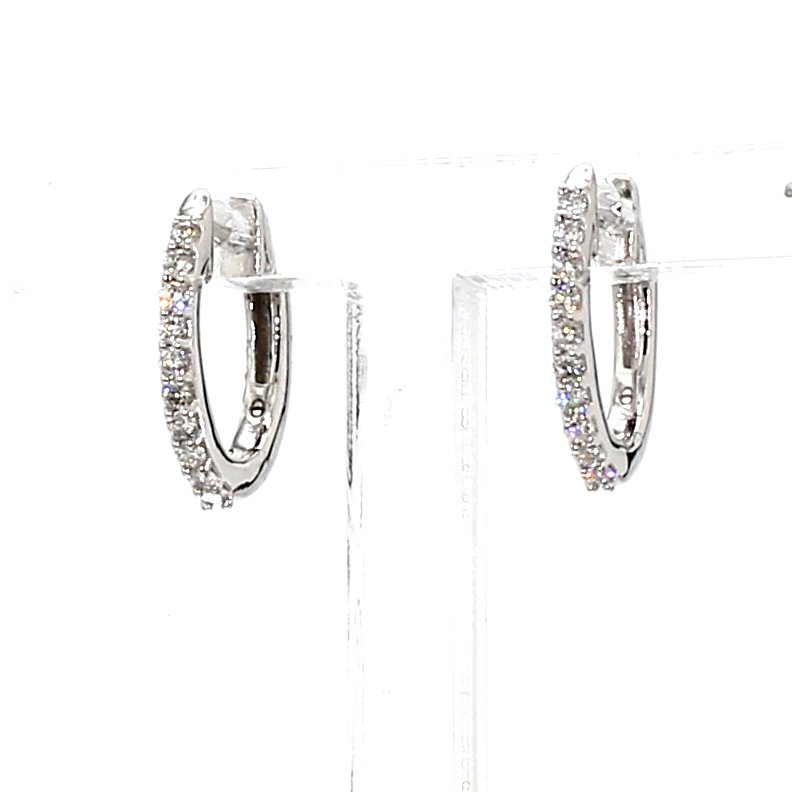 1/6 Ct. Diamond Huggie Hoop Earrings 1.4mm X 12mm