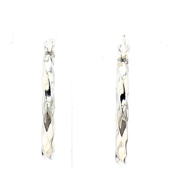 14 Karat White Gold Twisted Hoop Earrings