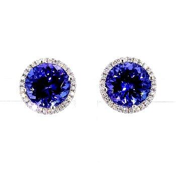 7ct Tanzanite & Diamond Halo Earrings