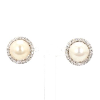8MM Akoya Pearl And .25 Carat Halo Diamond Earrings