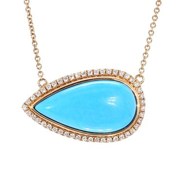 8.13 Carat Turquoise And Diamond Necklace