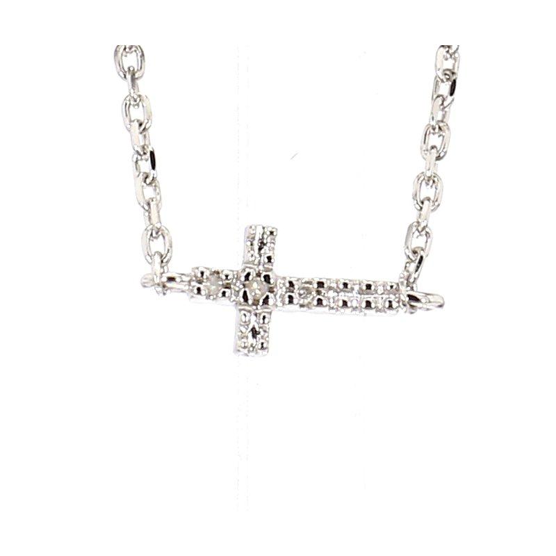 Sideways Diamond Cross Bracelet