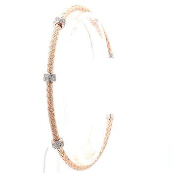"""Rose Gold Mesh Jeweled Station Bracelet 6.75"""" 3mm"""