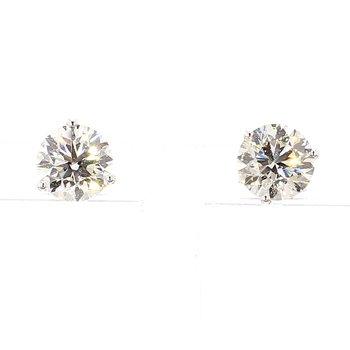 2 Carat Round Brilliant Diamond Stud Earrings