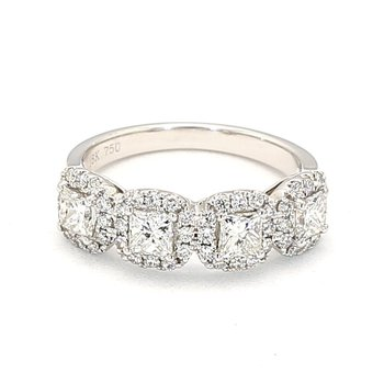 1.44 Carat Diamond Halo Engagement Ring Consisting Of 40 Stones Crafted In 14 Karat White Gold