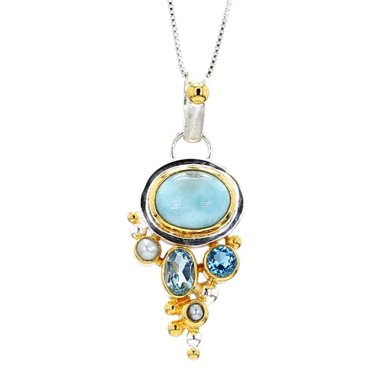 Sterling Silver And 22 Karat Yellow Gold Vermeil Earrings with Larimar, White Freshwater Pearl, Sky Blue Topaz And Baby Blue Topaz