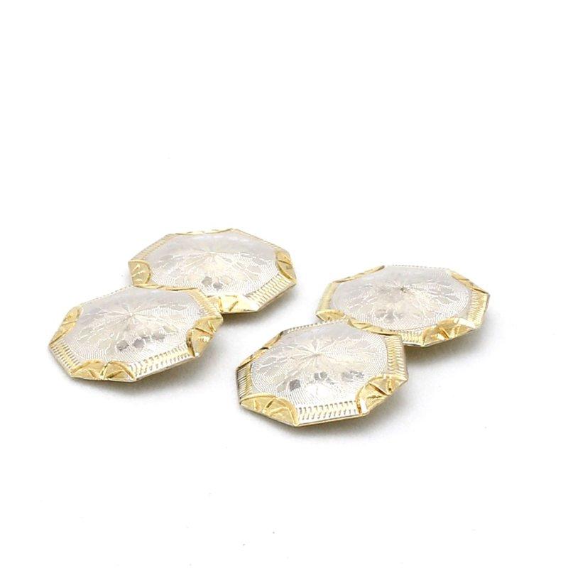14 Karat Gold Two Toned Octagon Vintage Cufflink Set
