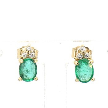 18Kt Oval Emerald Diamond Accented Earrings