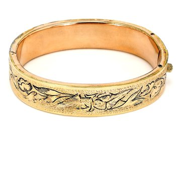 Gold Filled Oriental Style Bangle Bracelet