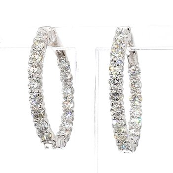 3ct Locking Diamond Hoop Earrings 26.7x3mm 14 Karat White Gold