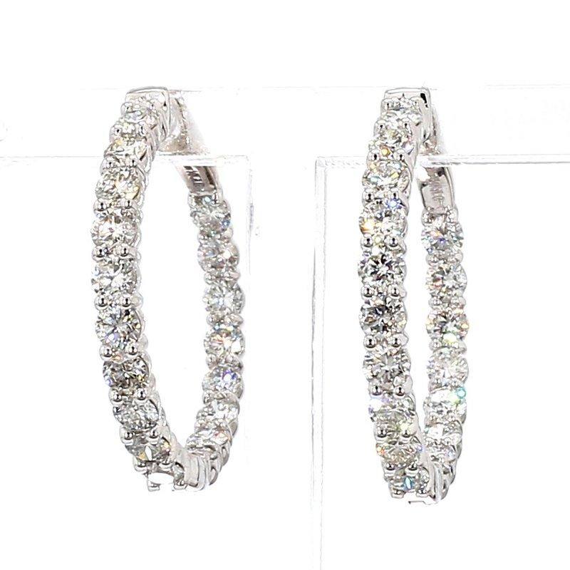 3ct Locking Diamond Hoop Earrings 26.7x3mm 14 Karat White Gold