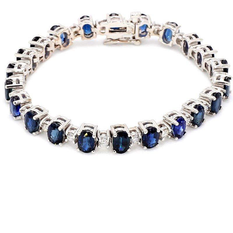 15 1/10ct Blue sapphire & Diamond Tennis Bracelet