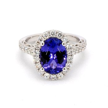 3ct Oval Tanzanite Halo Ring