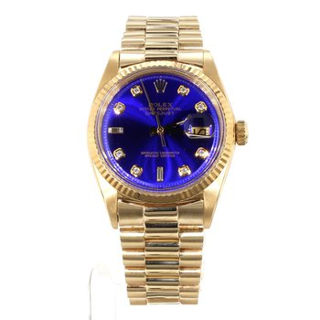 18K DateJust Unisex Blue Diamond Dial Watch - Mid Sized