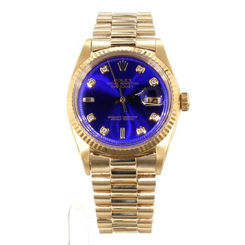 18K DateJust Unisex Blue Diamond Dial Watch - Mid Sized