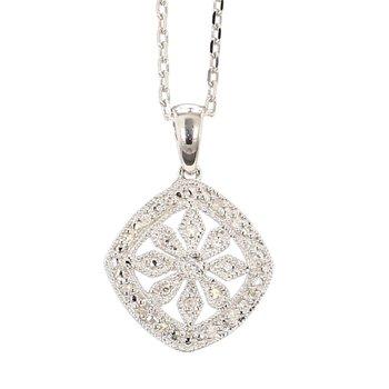 ".06ct Diamond Floral Design Pendant 18"""