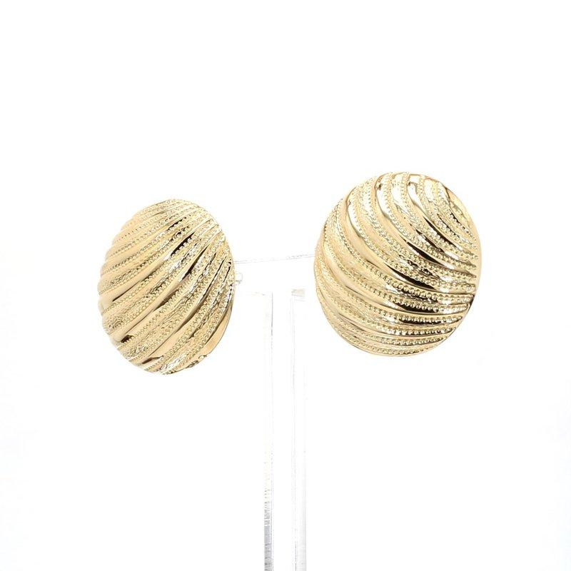 Estate 14 Karat Yellow Gold Dome Design Textured Earrings