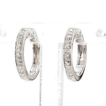 1/10ct Diamond Sterling Silver  Small Hoop Earrings 12.74mm X 1.94mm