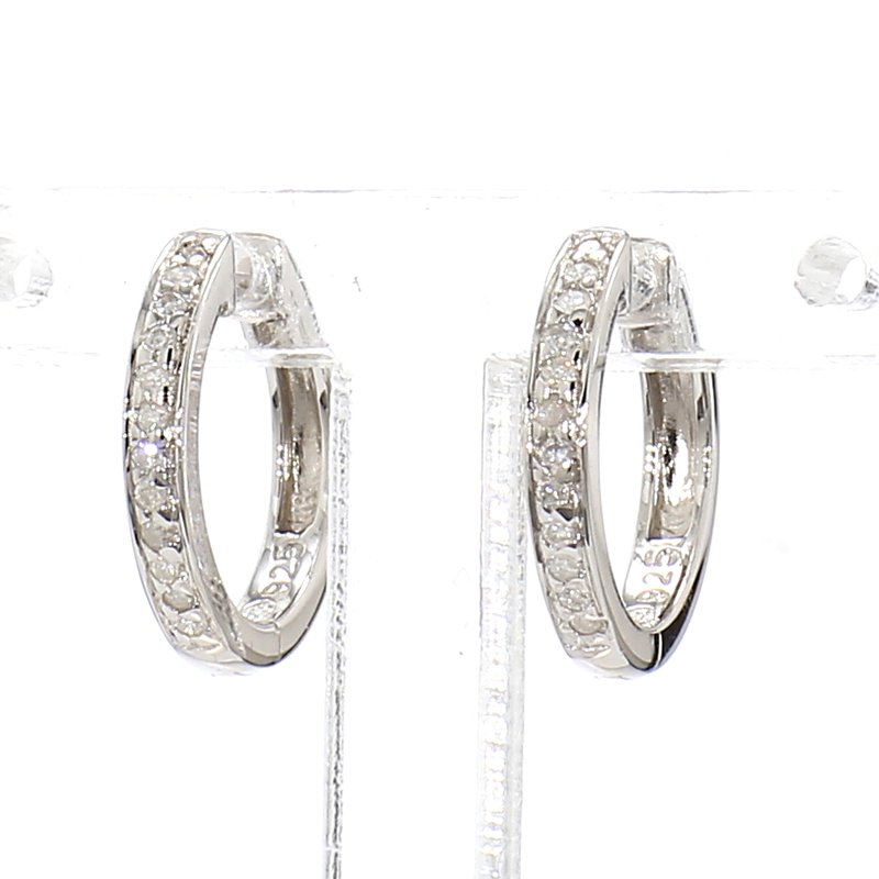 1/10ct Diamond Sterling Silver  Small Hoop Earrings 12.74mm X 1.94mm