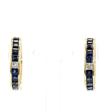 1ct Sapphire & Diamond Hoop Earrings