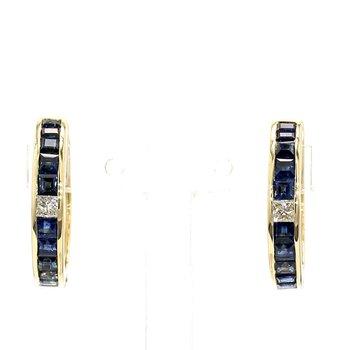 1ct Sapphire & Diamond Hoop Earrings