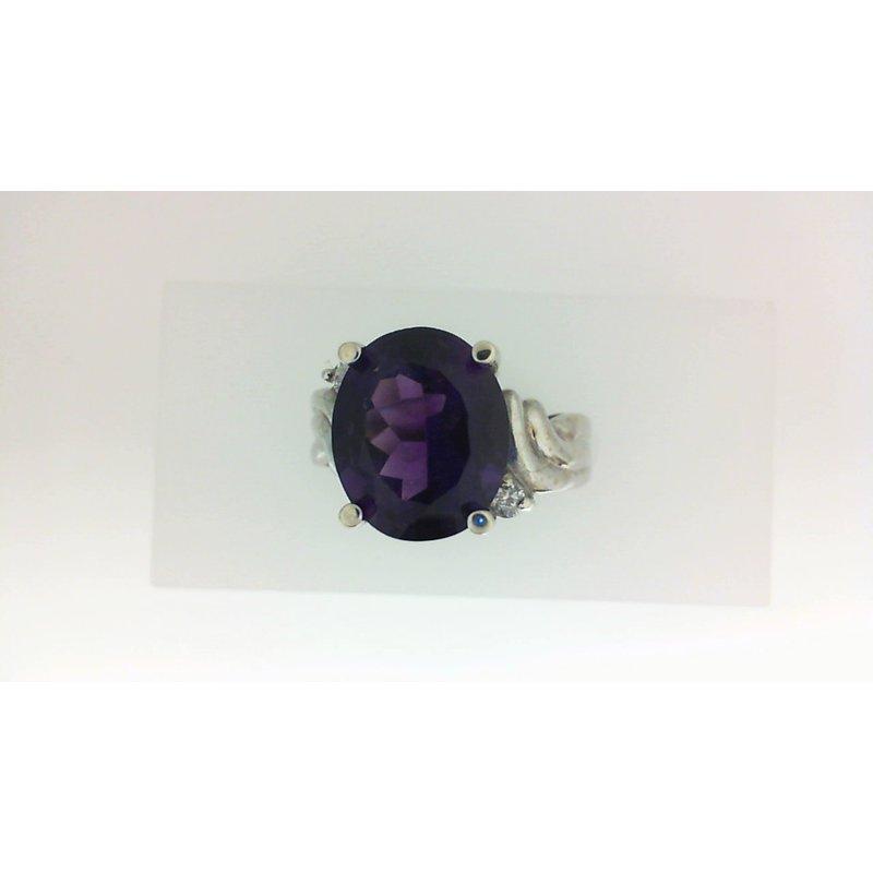 4 1/10ct Amethyst & Diamond Ring
