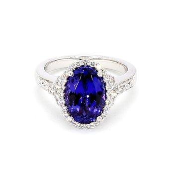 4 1/2ct Tanzanite & Diamond Halo Ring