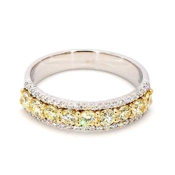 1.0ct Yellow & White Diamond Eternity Ring