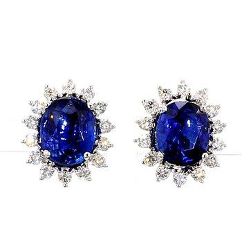 7.0ct Tanzanite & Diamond Halo Earrings