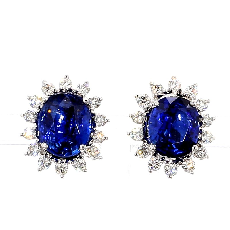 7ct Blue Sapphire & Diamond Halo Earrings