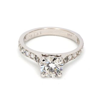 Engagement Ring with Channel set Side Diamonds